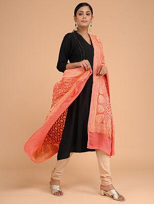 Peach Bandhani Benarasi Silk Georgette Dupatta with Mukaish Work