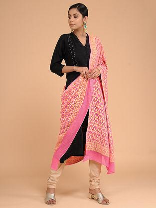 Pink Bandhani Benarasi Silk Georgette Dupatta with Mukaish Work