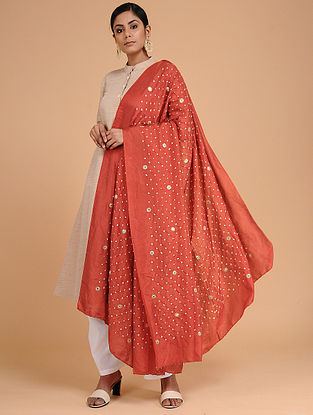 Red-Ivory Bandhani Mulberry Silk Dupatta with Sequins-work