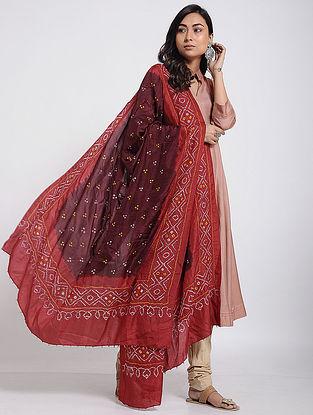 Maroon-Red Bandhani Mulberry Silk Dupatta