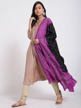 Black-Magenta Bandhani Mulberry Silk Dupatta