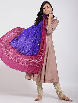Blue-Pink Bandhani Mulberry Silk Dupatta