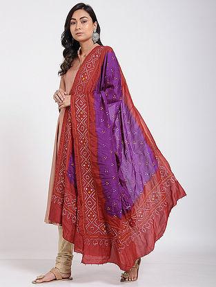 Purple-Red Bandhani Mulberry Silk Dupatta