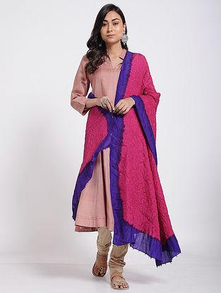 Pink-Blue Bandhani Mulberry Silk Dupatta