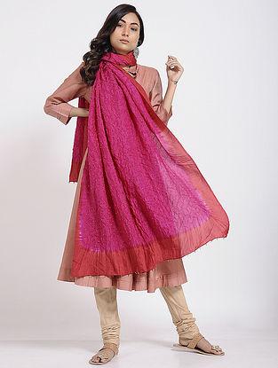 Pink Bandhani Mulberry Silk Dupatta