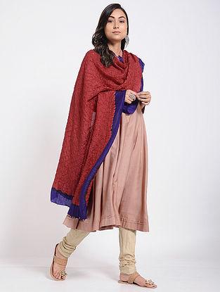 Red-Blue Bandhani Mulberry Silk Dupatta