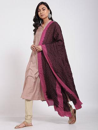 Maroon-Pink Bandhani Mulberry Silk Dupatta