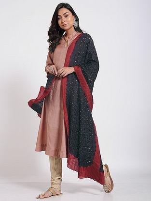 Black-Red Bandhani Mulberry Silk Dupatta