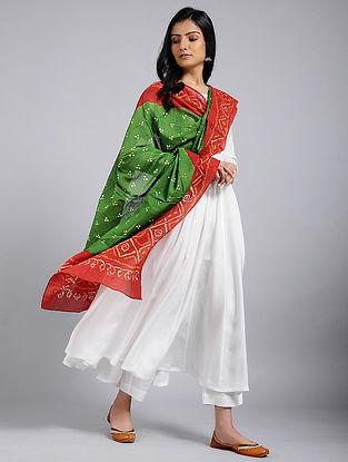 Green-Red Bandhani Mul Cotton Dupatta With Mukaish Work