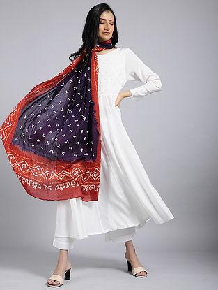 Purple-Red Bandhani Mul Cotton Dupatta With Mukaish Work