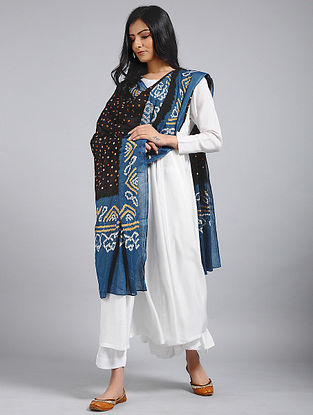 Blue-Black Bandhani Mul Cotton Dupatta With Mukaish Work
