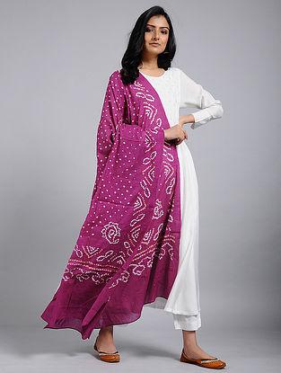 Magenta-Ivory Bandhani Mul Cotton Dupatta With Mukaish Work