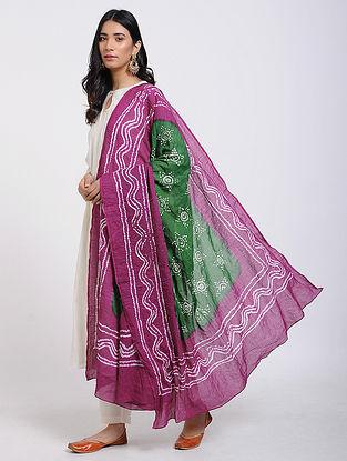 Green-Magenta Bandhani Cotton Dupatta with Mukaish Work