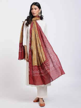 Mustard-Red Bandhani Cotton Dupatta with Mukaish Work