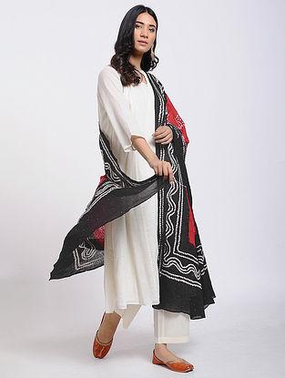 Red-Black Bandhani Cotton Dupatta with Mukaish Work