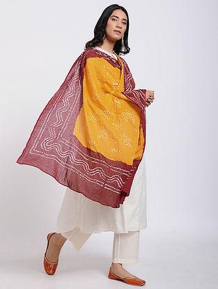 Yellow-Red Bandhani Cotton Dupatta with Mukaish Work