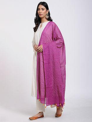 Pink-Ivory Bandhani Cotton Dupatta with Tassels