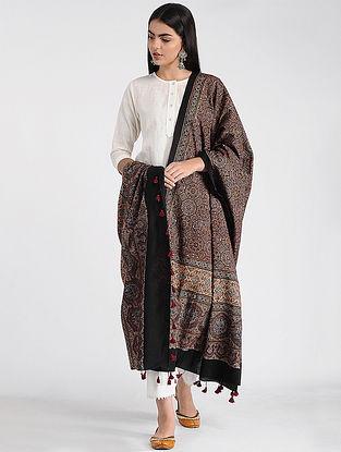 Maroon-Black Ajrakh-printed Cotton Dupatta with Tassels
