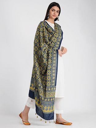 Blue-Yellow Ajrakh-printed Cotton Dupatta with Tassels