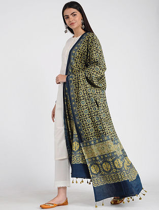 Yellow-Blue Ajrakh-printed Cotton Dupatta with Tassels