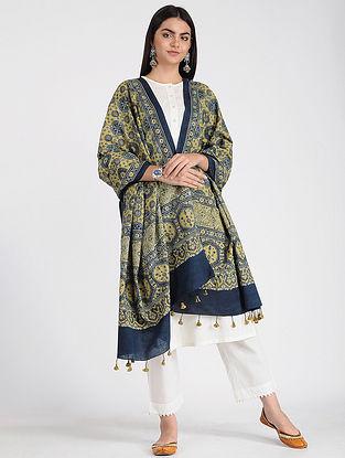 Yellow-Blue Ajrakh-printed Cotton Dupatta with Tassels