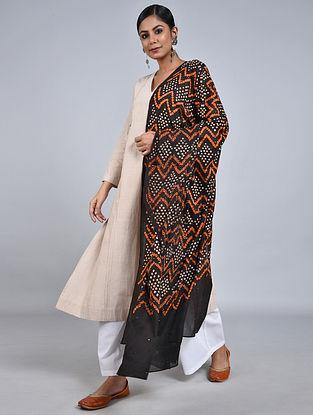 Black-Orange Bandhani Mul Cotton Dupatta with Mukaish Work