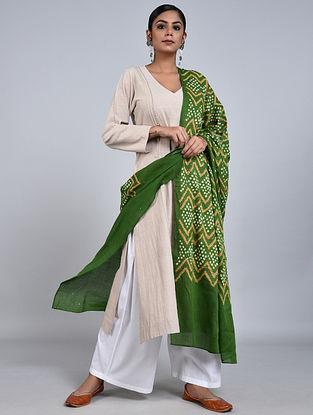 Green-Ivory Bandhani Mul Cotton Dupatta with Mukaish Work
