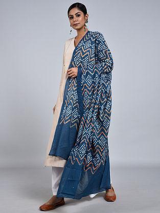 Blue-Ivory Bandhani Mul Cotton Dupatta with Mukaish Work