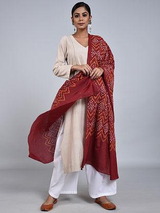Red-Ivory Bandhani Mul Cotton Dupatta with Mukaish Work