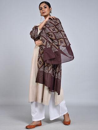Maroon-Ivory Bandhani Mul Cotton Dupatta with Mukaish Work