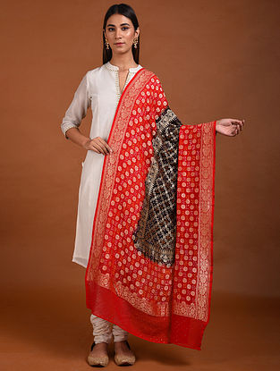 Black-Red Benarasi Bandhani Silk Georgette Dupatta
