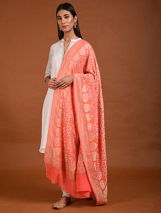 Orange Benarasi Bandhani Silk Georgette Dupatta with Mukaish Work