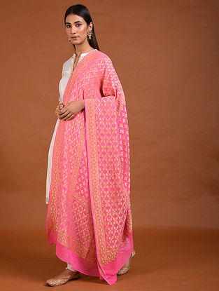 Pink Benarasi Bandhani Silk Georgette Dupatta with Mukaish Work