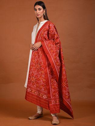 Red Handwoven Ikat Mulberry Silk Dupatta