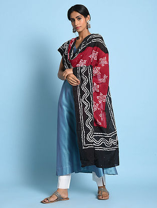 Red-Black Bandhani Mul Cotton Dupatta