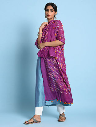 Purple-Orange Bandhani Mul Cotton Dupatta