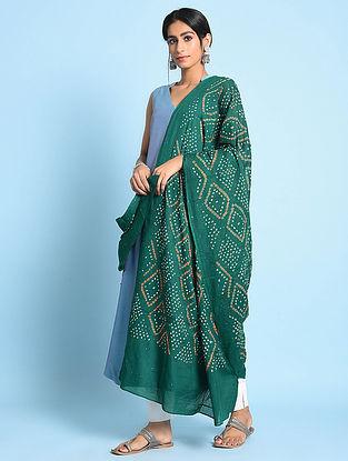 Teal-Ivory Bandhani Mul Cotton Dupatta