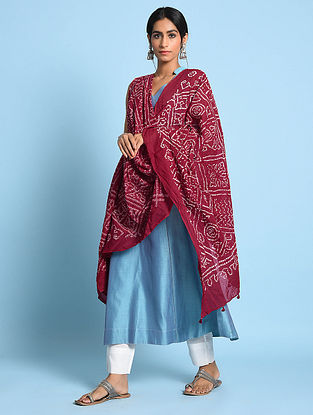 Red-Ivory Bandhani Mul Cotton Dupatta