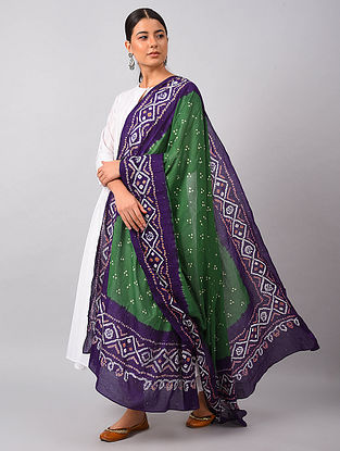 Green-Blue Bandhani Mul Cotton Dupatta