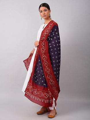 Blue-Red Bandhani Mul Cotton Dupatta