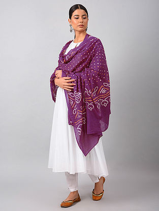 Purple-Ivory Bandhani Mul Cotton Dupatta