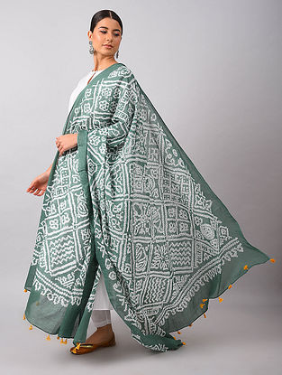 Grey-Ivory Bandhani Mul Cotton Dupatta with Tassels