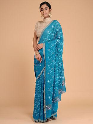 Blue-Ivory Bandhani Silk Georgette Saree with Mirror-work and Zari