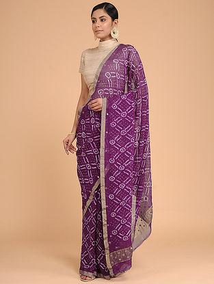 Purple-Ivory Bandhani Silk Georgette Saree with Zari