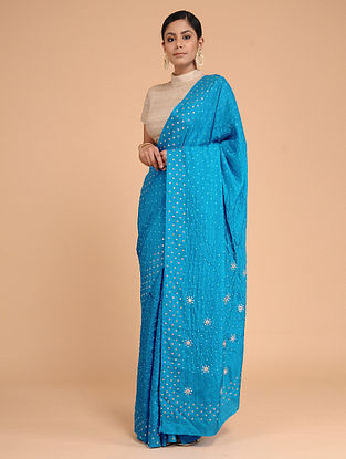 Blue-Ivory Bandhani Mulberry Silk Saree with Sequins-work