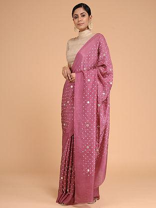 Pink-Ivory Bandhani Mulberry Silk Saree with Mirror-work