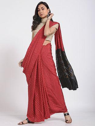 Red-Black Bandhani Mulberry Silk Saree