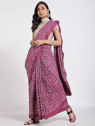 Pink-Ivory Bandhani Mulberry Silk Saree