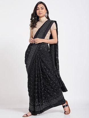 Black Bandhani Mulberry Silk Saree