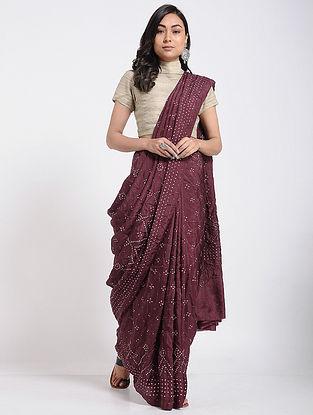 Maroon Bandhani Mulberry Silk Saree